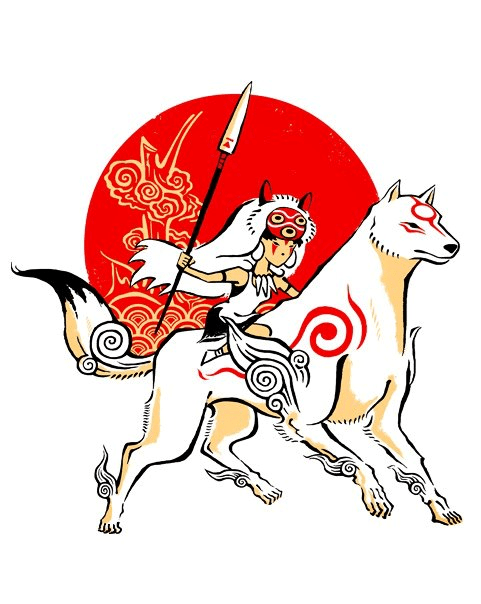 Ōkami,crossover,Fan Art,T.Shirt,princess mononoke