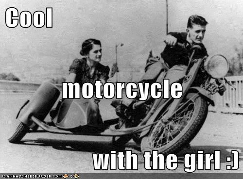 Cool motorcycle with the girl :)