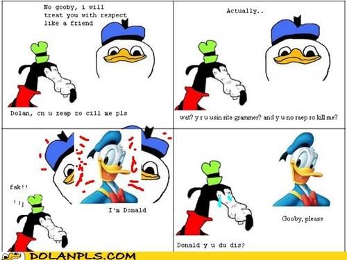 gooby,donald duck,correct grammar,correct spelling
