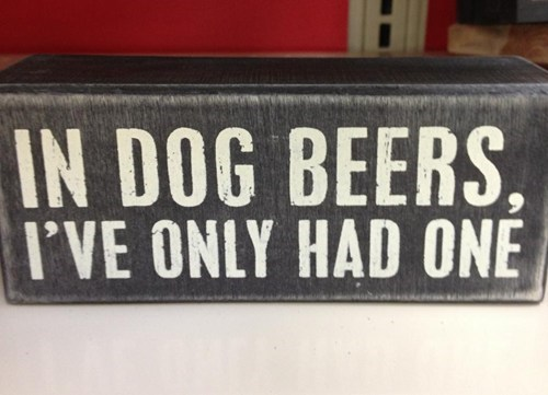 dogs,alcohol,dog beers,only had one,dog years