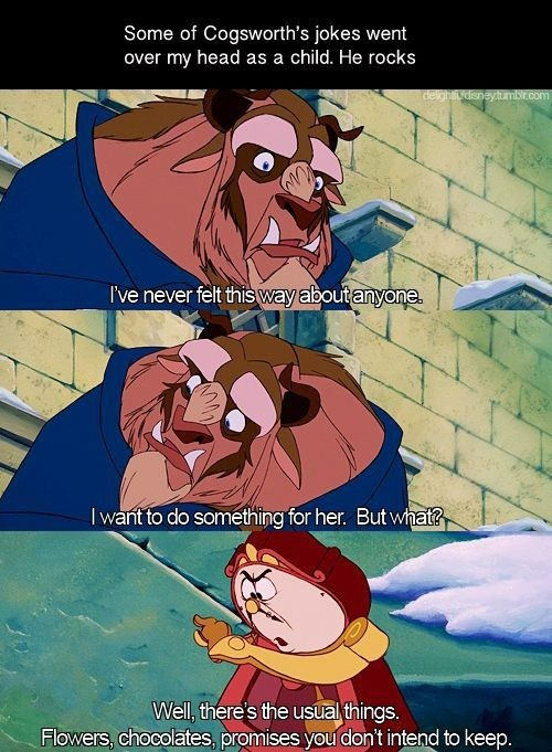 Beauty and the Beast,disney,cogsworth,cynical