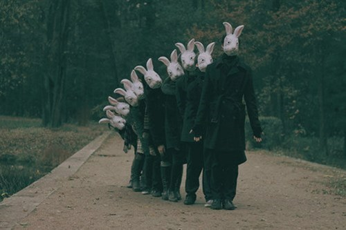 trench coats army bunny masks