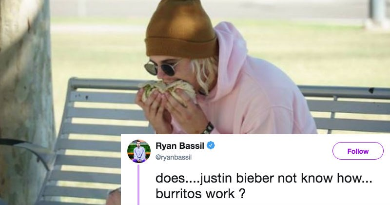 twitter burrito trolled ridiculous food reaction justin bieber - 7019781