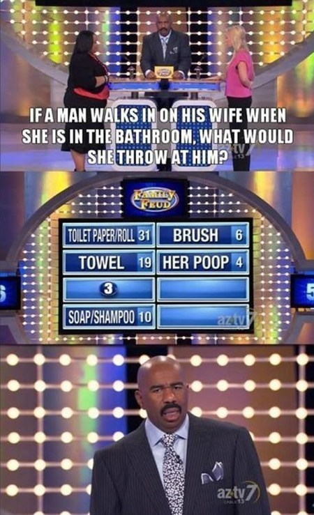 game show,throwing poop,family feud,TV,bathroom