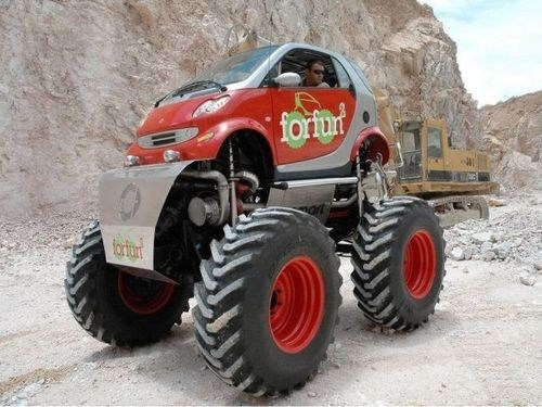 smart car,monster truck