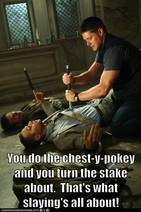 hokey pokey chest jensen ackles Supernatural dean winchester demons stabbing - 7020259840