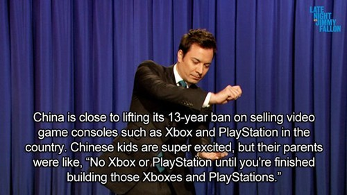 console ban,jimmy fallon,China,consoles,jokes and jokes