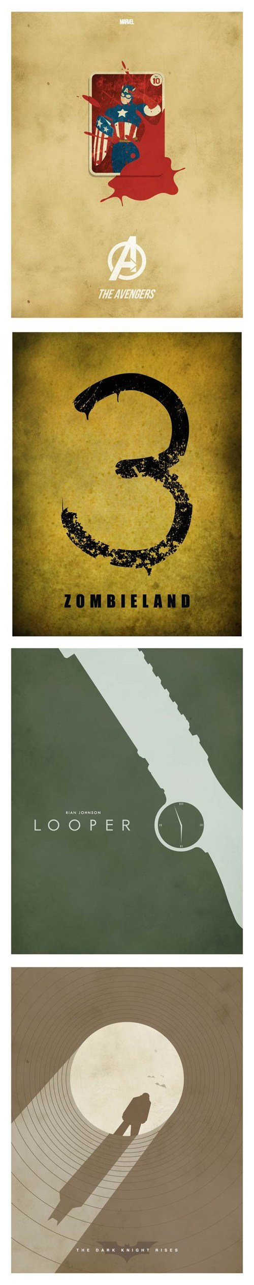 minimalist,Fan Art,The Avengers,movie posters,batman,Zombieland,looper