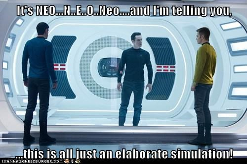 benedict cumberbatch,Captain Kirk,the matrix,Spock,Zachary Quinto,Star Trek,neo,star trek into darkness,chris pine