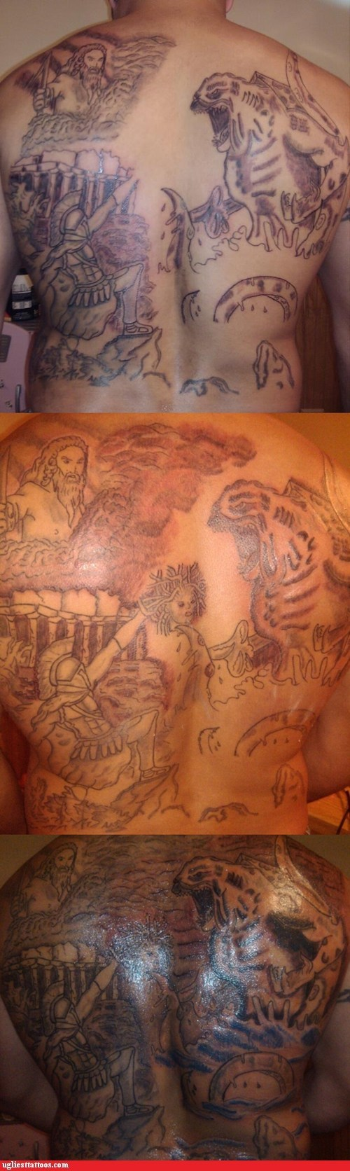 clash of the titans godzilla back tattoos - 7021140480