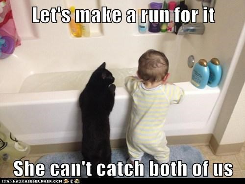 cat,escape,kid,bath,funny,national cat day 2013