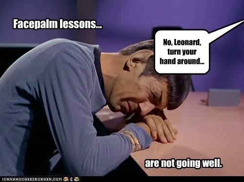 lesons,Spock,facepalm,Leonard Nimoy,Star Trek