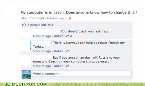variations on a theme,conversation,czech,facebook,homophone,check