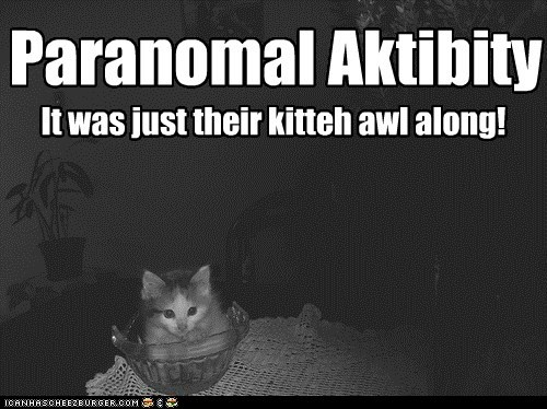 Paranomal Aktibity It was just their kitteh awl along!