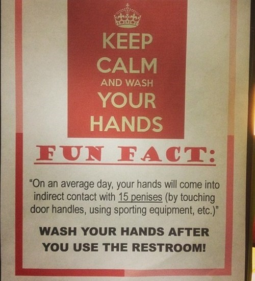 wash your hands bathroom humor Fun Fact unsetlling monday thru friday g rated