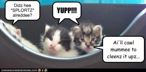 Didz hee *SPLORTZ* alreddee? ToolBee 20130131 Cleverness Here YUPP!!! Ai'll cawl mummee to cleenz it upz... I . .