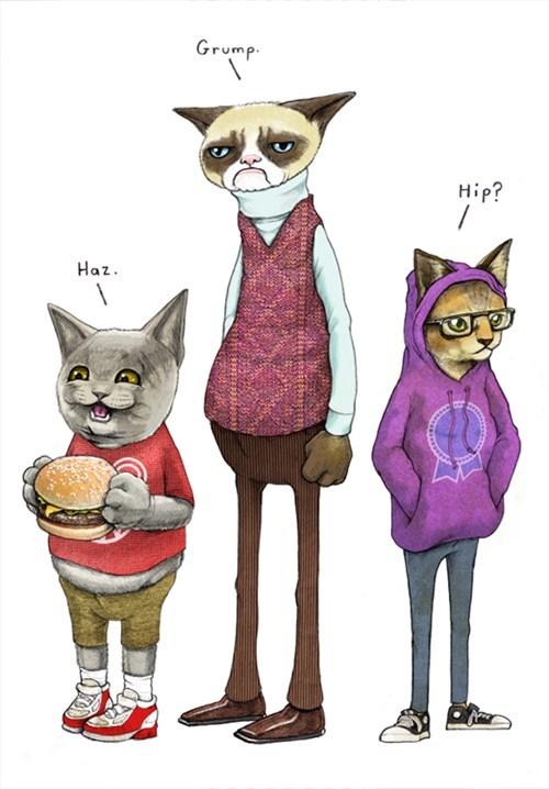tardar sauce art hipster cat comic anthropomorphic Grumpy Cat happy cat - 7022921472