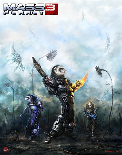 epic,art,mass effect,ferrets,mass effect 3