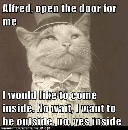 Alfred, open the door for me I would like to come inside. No wait, I want to be outside, no, yes inside