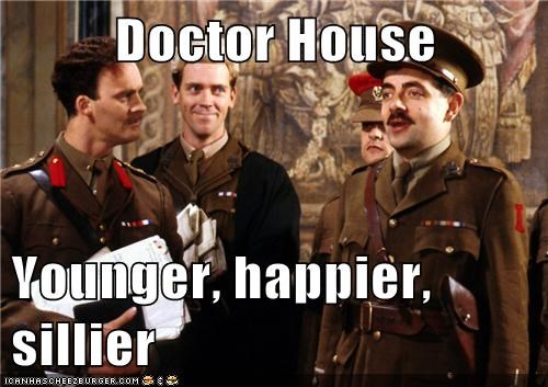 rowan atkinson,house,black adder,hugh laurie,silly,younger,happy