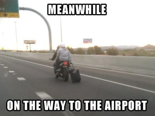airport cars driving motorcycle luggage - 7023507968