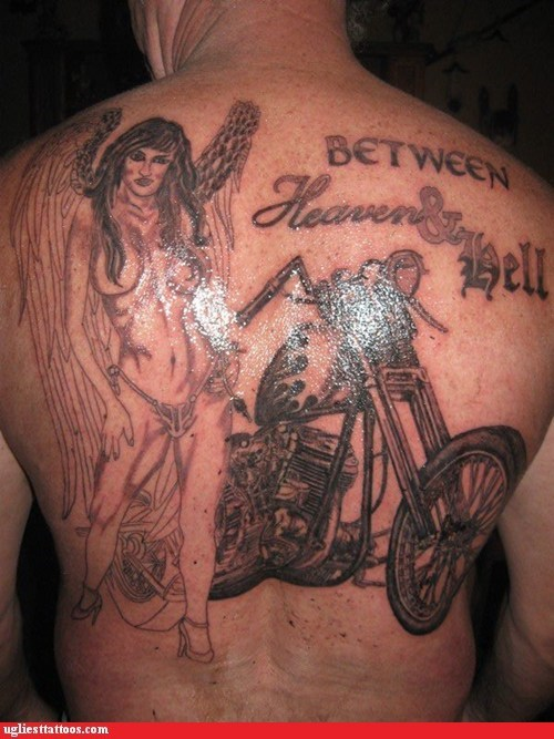 sexy tattoos,back tattoos,motorcycle