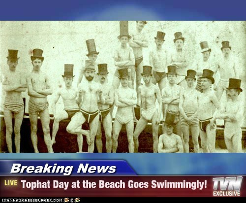 club,beach,swimming,top hats,weird
