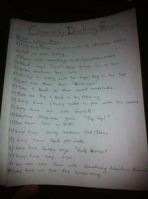 community,drinking games,television,after 12