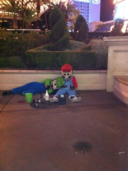 drunk,passed out,luigi,mario