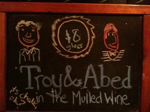 chalkboards,community,Troy and Abed,mulled wine