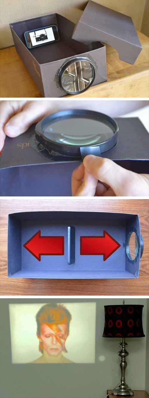 DIY of how to make a very simple wall projector using your iphone, a magnifying glass and a shoe box.