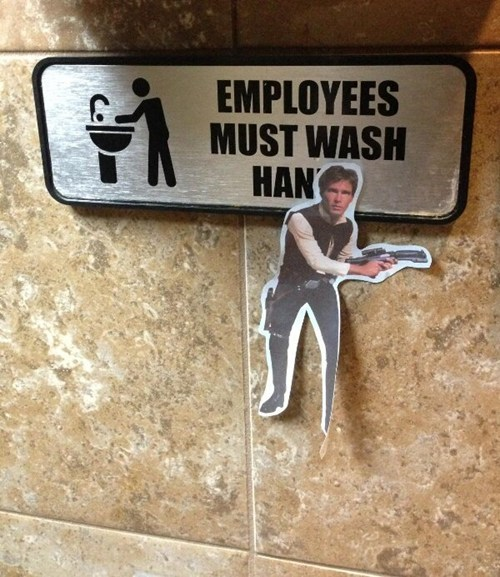 puns hands bathroom Han Solo
