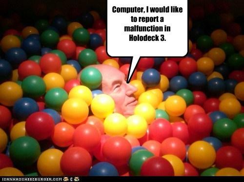 Captain Picard,ball pit,malfunction,Star Trek,holodeck,patrick stewart