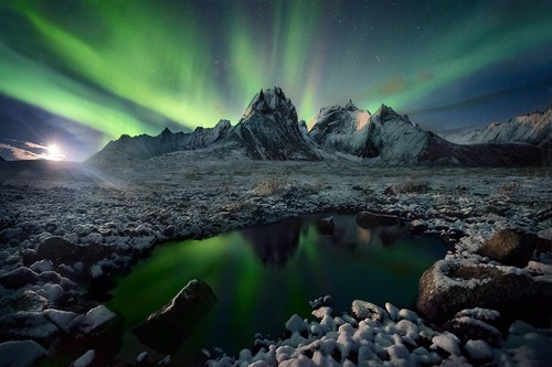 northern lights,alaska,winter,aurora