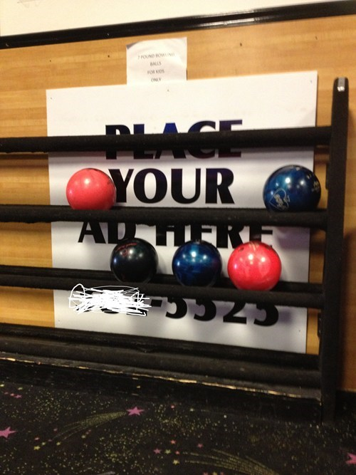 Ad,bowling balls,bowling alley