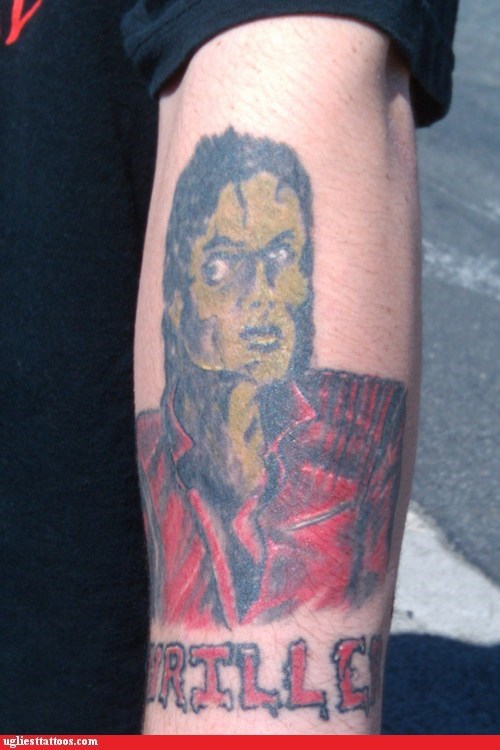 arm tattoos,michael jackson,thriller