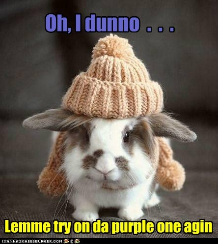 Oh, I dunno . . . Lemme try on da purple one agin