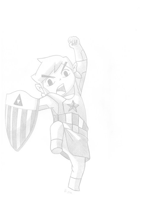 toon link,crossover,Fan Art,captain america