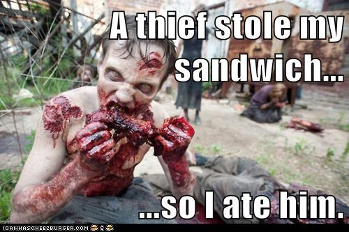 zombie,eating people,sandwich,The Walking Dead,thief