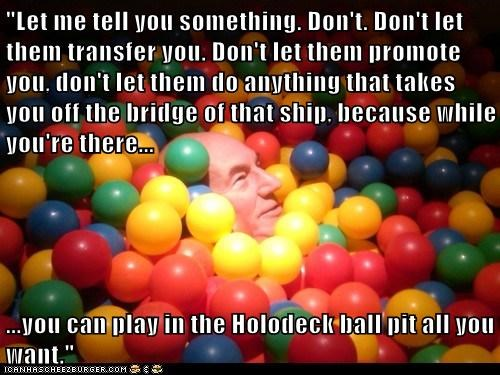 Captain Picard ball pit the next generation Star Trek holodeck patrick stewart - 7030414336