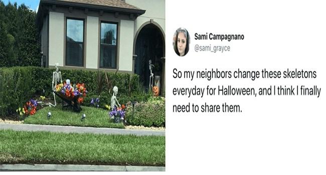 halloween neighbours tweets skeletons funny - 7030533