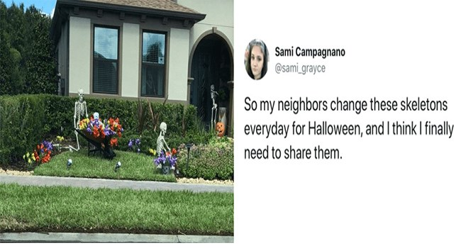halloween neighbours tweets skeletons funny - 7030533