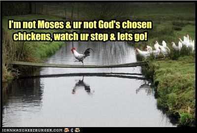 I'm not Moses & ur not God's chosen chickens, watch ur step & lets go!