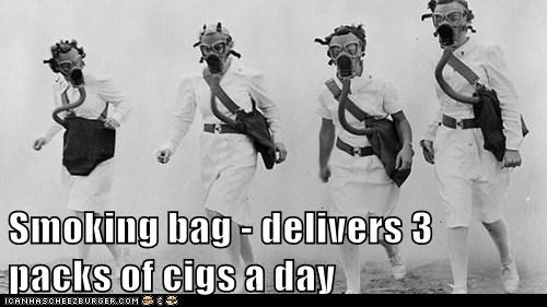 bag,cigarettes,mask,gas mask,smoking