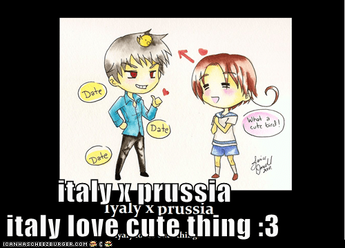 italy x prussia                                                                                                         italy love cute thing :3