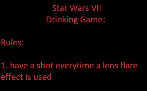 Star Wars VII Drinking Game