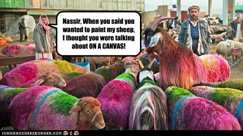 Nassir, When you said you wanted to paint my sheep, I thought you were talking about ON A CANVAS!