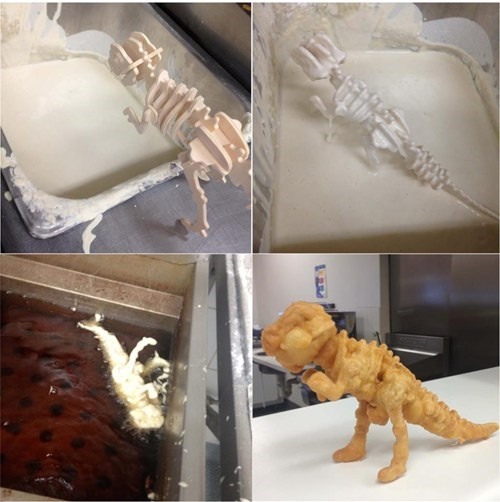 deep fried skeleton dinosaur weird