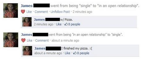 relationship status,pizza,facebook