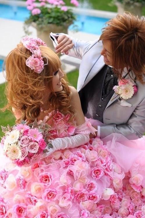 overkill Fluffy pink dress roses - 7033652480